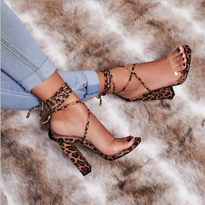 Womens Ladies Peep Toe Sandals Ankle Strap High Block Heels Lace Up Party Shoes