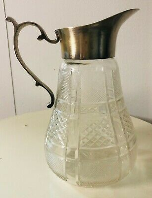 Vintage Retro Silver Crystal Plated Diamond Cut Glass Carafe Pitcher Decanter