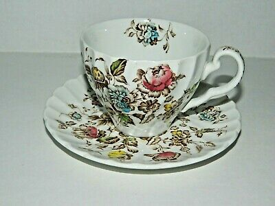 Vintage JOHNSON BROTHERS England STAFFORDSHIRE BOUQUET 1 Cup w/Flower & 1 Saucer