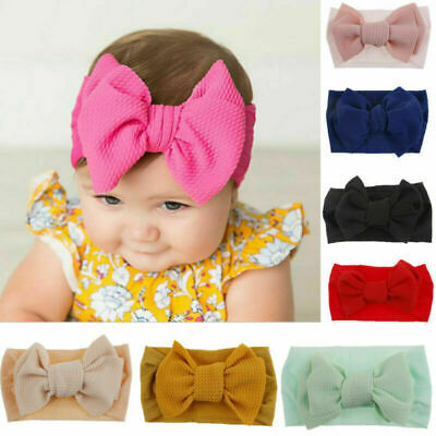 Toddler Girls Baby Big Bow Headband Hairband Stretch Turban Knot Head Wrap HOT