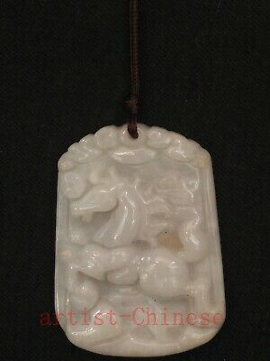 Collection Old Chinese Jadeite Jade Hand Carving Zodiac Horse Pendant Amule