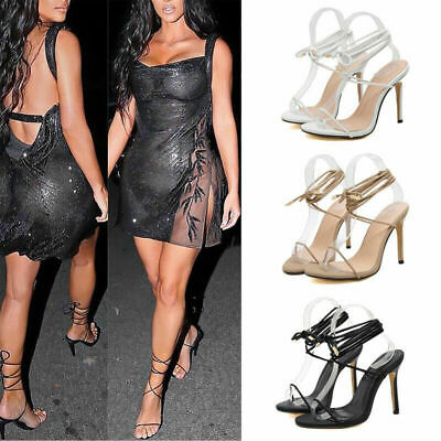 Womens Ladies Lace Up High Heels Open Toe Sandals Cross Strappy Party Shoes New