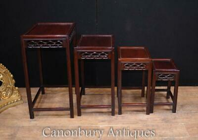 Chinese Hard Wood Nest of Tables Carved Side Table