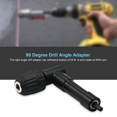 90 Degree Right Angle Keyless Chuck Cordless Impact Drill Adapter Attachment HD