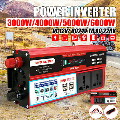 6000W Peak Digital Power Inverter DC 12V/24V to AC 220V Efficient USB Sine Wave