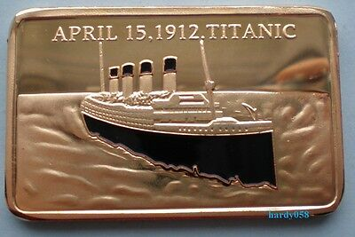 💥 RMS Titanic 100th Anniversary April 15, 1912 Tragedy Gold Plated 1oz coin Bar