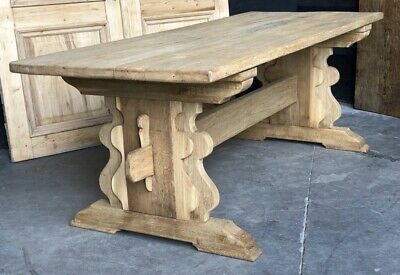 Large Oak French Farmhouse Kitchen Dining Table, Refectory, Mid 19th Century.
