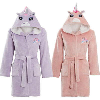 Girls Soft & Cosy Fleece 3D Unicorn Embroidery detail Dressing gown Age 5-13 yrs