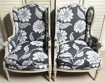 Wonderful Pair French Bergere Arm Chairs, Newly Upholstered, Wing Chairs, C1880