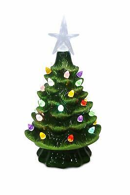 Ceramic 7.5 Inch Green Christmas Tree with Multi Color Lights