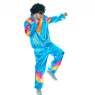 Scouser Shellsuit 1980's Gents Fancy Dress Costume With Optional Black Afro Wig