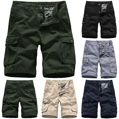 Casual Mens Summer Army Combat Work Cargo Shorts Straight Pants Trousers 30-38
