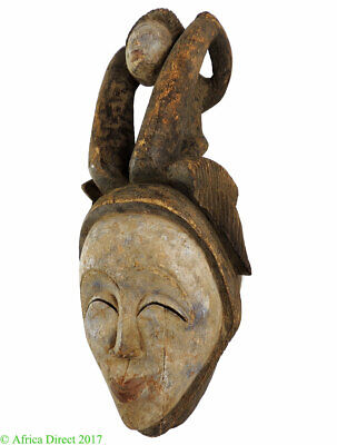 Punu Maiden Spirit Mask with Child Mukudji Gabon African Art
