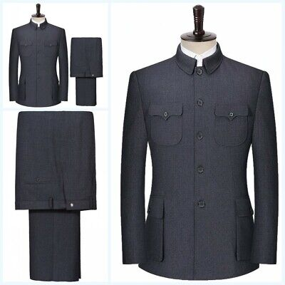 Men's Formal dress Chinese tunic suit Blazers Single Breasted Slim fit 2PCS Coat