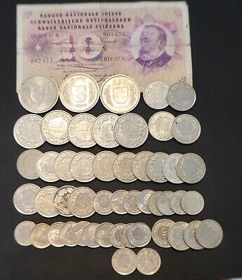 Lot of Swiss Franc Coins and Bills for Exchange