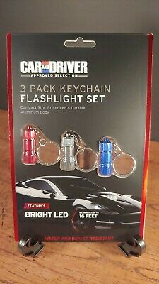 Car And Driver 3 Pack Keychain Flashlight Set