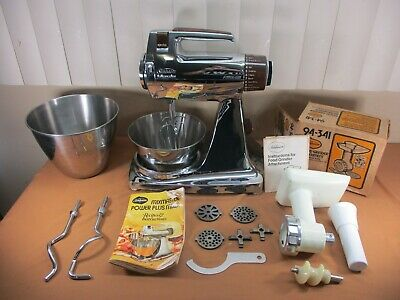 Vtg Sunbeam Mixmaster Power Plus Chrome Stand Mixer w/ Food Grinder Attachment +
