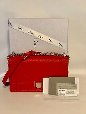 5f4e4f0a8c AUTHENTIC CHRISTIAN DIOR Diorama Red Calfskin Leather Flap Small Shoulder  Bag