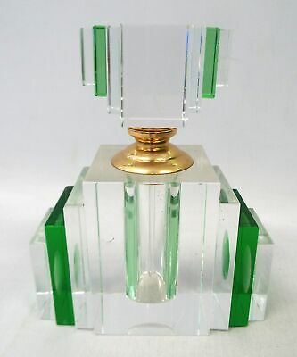 Vintage CUT GLASS Art Deco Style Clear & Green Perfume Scent Bottle - P12