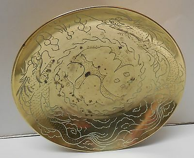 Footed Brass Bowl with Two Dragons Chinese Vintage
