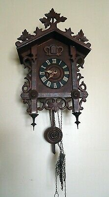 Vintage German Railroad Cuckoo Clock Black Forest Complete but not working