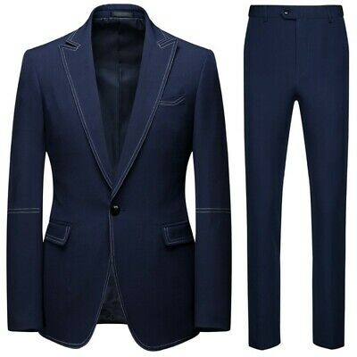 Mens 2Pcs Business Slim Professional Suit Korean Groom Wedding One button Blazer