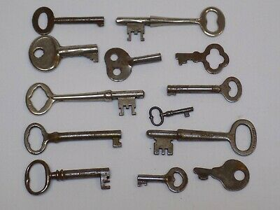 13 Antique Key LOT 1 Vintage Old Reese Padlock Co Skeleton Keys Yale Towne 166