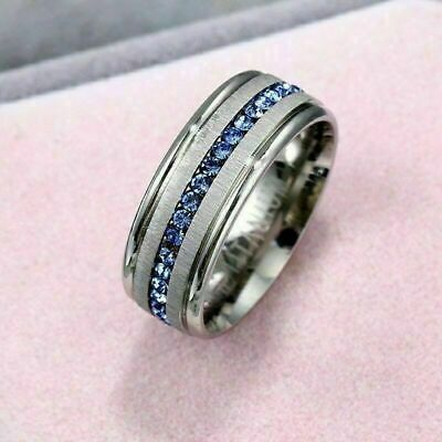 Mens 8MM Blue Band Titanium Steel Silver Brushed Fashion Engagement Ring Jewelry
