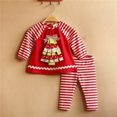 Toddler Kids Baby Girls Xmas Outfits Set Short T-Shirt Tops + Pants Clothes