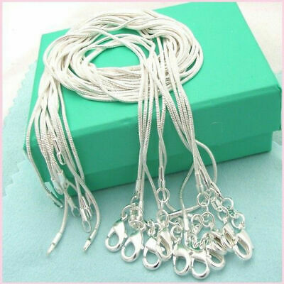Lots 10PCS 925 Sterling Solid Silver 1MM Snake Chain Necklace For Pendant 16-28""