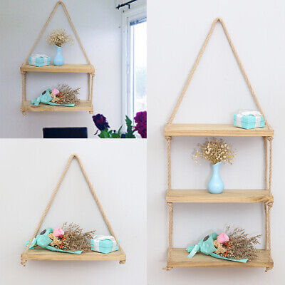 Rustic Wooden Hanging Rope Shelf Handmade Solid Natural Wood Shelves Floating UK
