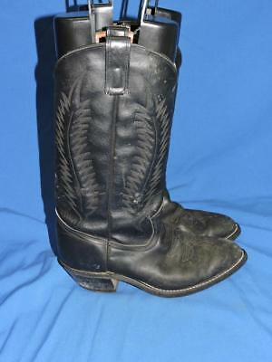 Texas Boot Co 8 1/2 8.5 Black Cowboy Boots Stitched Leather Western USA Made Men