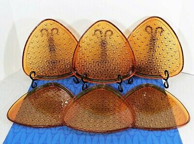 Lot of 6 Vintage Indiana Glass Amber Daisy And Button Snack Plates, Triangular