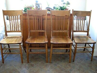 Antique American Country Farmhouse Wood Spindle Back Dining Table Chairs