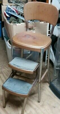 1950s Kitchen Retro Vintage Stylaire 4 Cosco Copper Step Stool Chair Ladder