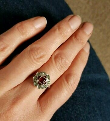 Antique Art Deco 9ct Gold & silver Ruby Paste Ring