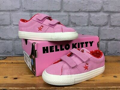 Converse  Uk 10 Eu 26 All Star Hello Kitty Pink Suede Trainers Girls Childrens L