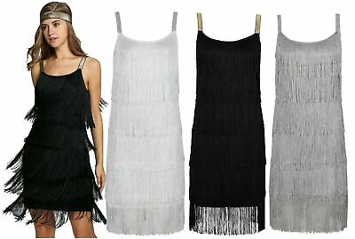 Ro Rox Great Gatsby 1920's Cocktail Party Tassel Fringe Flapper Dress & Headband