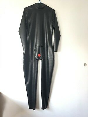 100%Latex catsuit 0.4mm Gummi Men Handsome sexy Black and Red Catsuit Size S-XXL