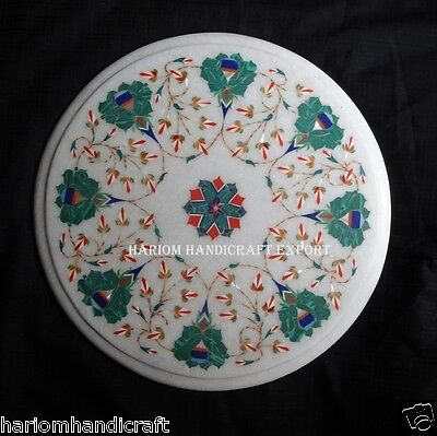 """12"""" Marble Marquetry Floral Inlaid Round Dining Table Top Handicraft Decor H183"""