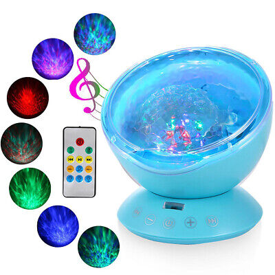 Relaxing Ocean Wave Music LED Night Light Projector Remote Lamp Baby Gift MCBT