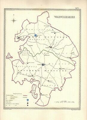 Antique Map ~ COUNTY ELECTION WARWICKSHIRE ~ 1835