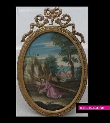 "ANTIQUE FRENCH MINIATURE PAINTING GOUACHE 19th century ""Way of the Cross"""