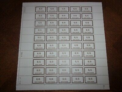 France Feuille Complete 50 Timbres Fictifs F195 Neufs**. Cote 50 Euros