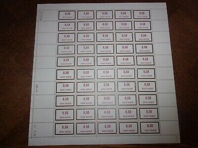 France Feuille Complete 50 Timbres Fictifs F197 Neufs**. Cote 50 Euros