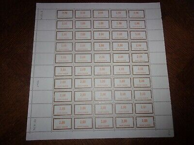 France Feuille Complete 50 Timbres Fictifs F202 Neufs**. Cote 50 Euros