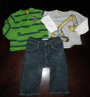 Boys Fall/Winter Lot of 3 - Baby Gap 6-12 M Jeans & 2 Carter's 6 Mo LS Tops