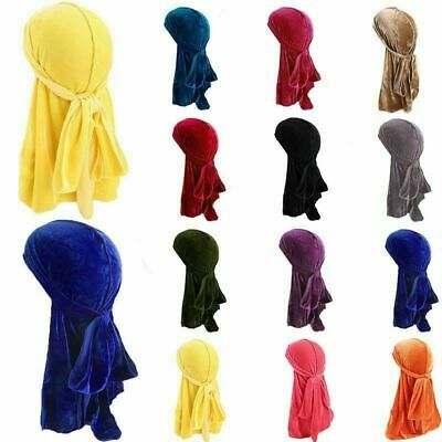 Velvet Long Tail Durag Men Women Chemo Cap Breathable Bandana Turban Hats U00