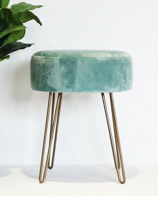 Sea Green Upholstered Velvet Footstool Rose Gold Hairpin Style Legs