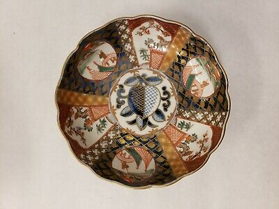 "Antique Japanese Hand Painted Imari Porcelain Scalloped Edge Bowl 6"" Signed"